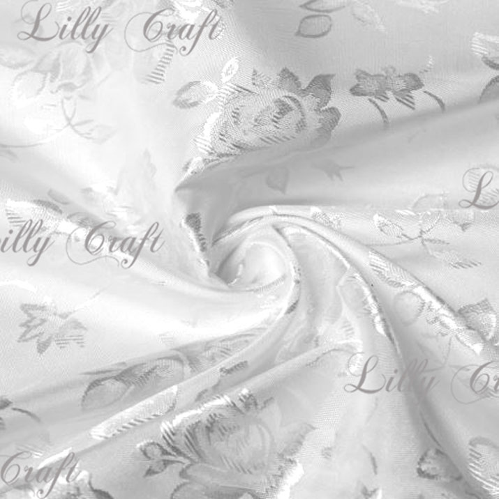 "White Brocade Jacquard Satin Fabric 58""/60"" Inches Wide - 15 Yard Bolt"