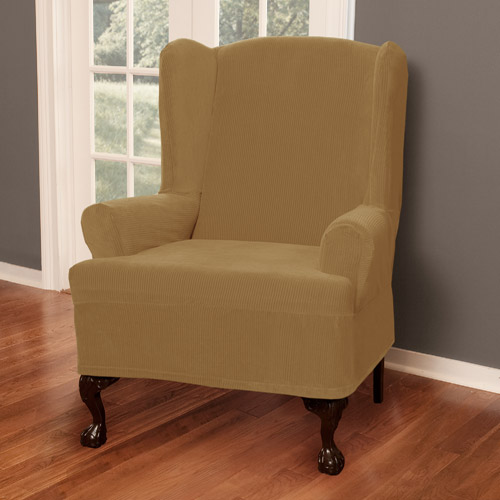 Maytex Stretch Collin 1 Piece Wingback Armchair Furniture Cover Slipcover, Gold