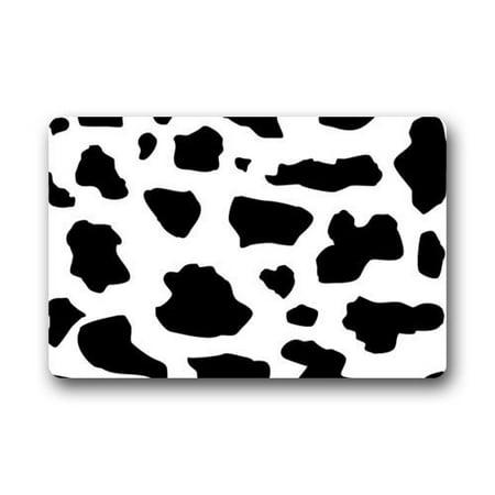 WinHome Black and White Milk Cow Print Pattern Doormat Floor Mats Rugs Outdoors/Indoor Doormat Size 23.6x15.7