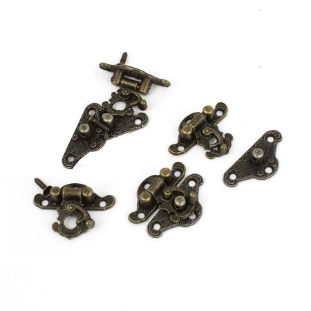 "Unique Bargains 1.1"" Long Antique Carved Wood Box Latch Hook Hinge Bronze Tone 4 Pcs w Screws"