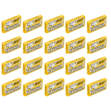 BIC Chrome Platinum Double Edge Safety Razor Blades, 100 Count + 3 Count Eyebrow Trimmer