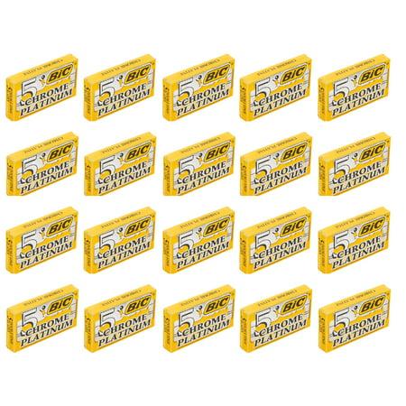 BIC Chrome Platinum Double Edge Safety Razor Blades, 100 Count + 3 Count Eyebrow (Edge Trimmer Blade)