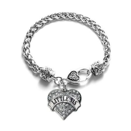 Little Sis Pave Heart Silver Charm Bracelet (Sister Braclets)