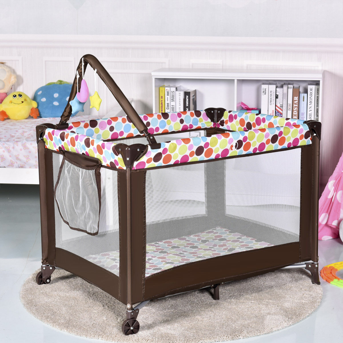 """GHP 40""""x28""""x28"""" Portable Open-View Folding Baby Crib Playpen Travel Bassinet Play Pen by Globe House Products"""