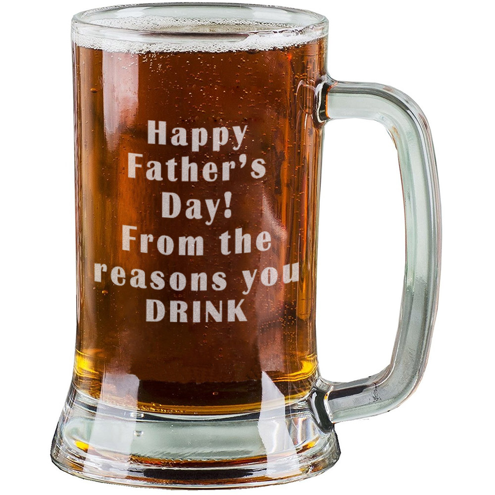 16 Oz Personalised Pint Beer Glasses Etched Mug Engraved With Happy