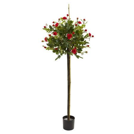 3' Rose Topiary Silk Tree