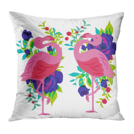 ECCOT Pink Girly Floral Tropical Flamingo Pattern Feminine Florida Rose Screen Pillow Case Pillow Cover 16x16 inch
