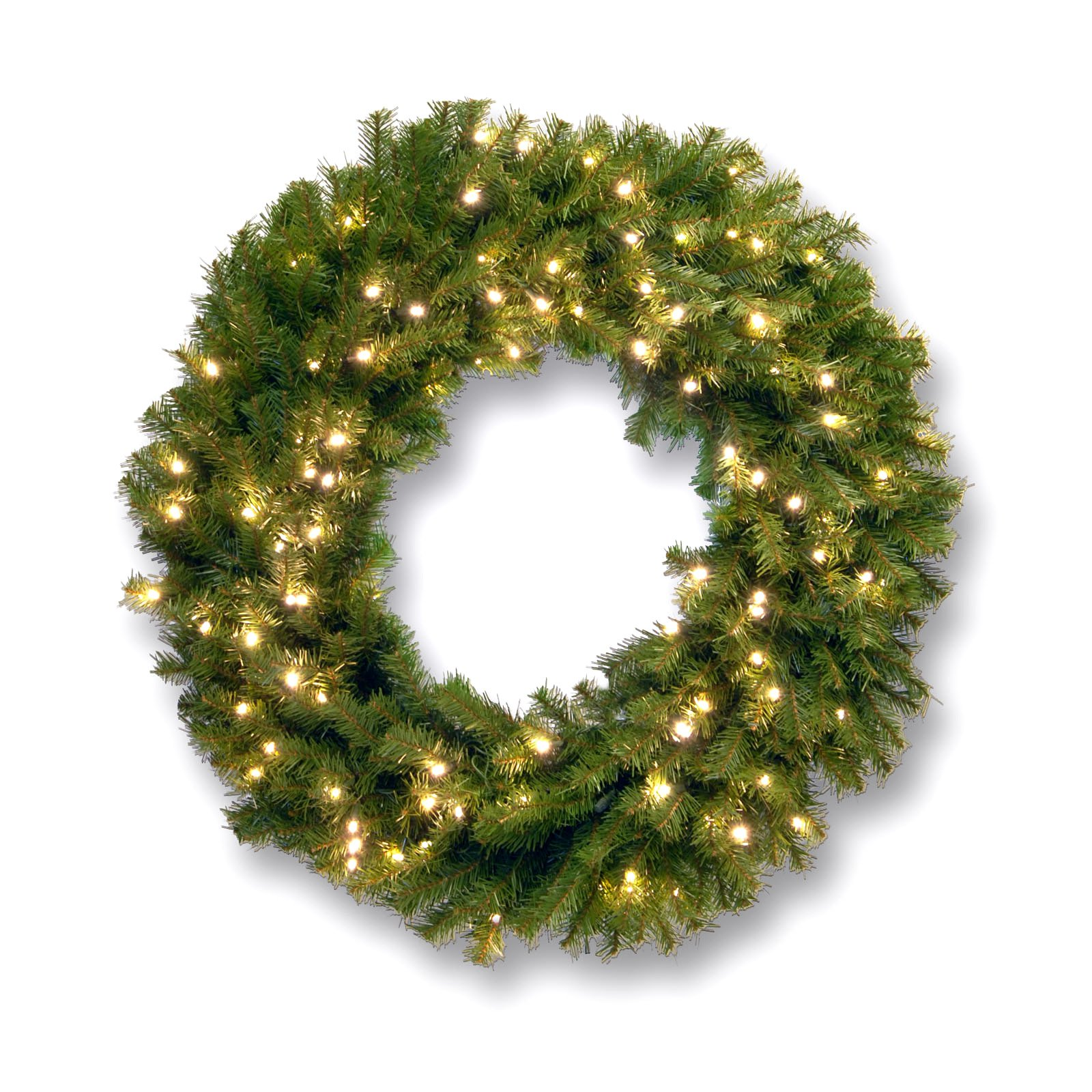 "National Tree 24"" Norwood Fir Wreath with 50 Concave Soft White LED Lights"
