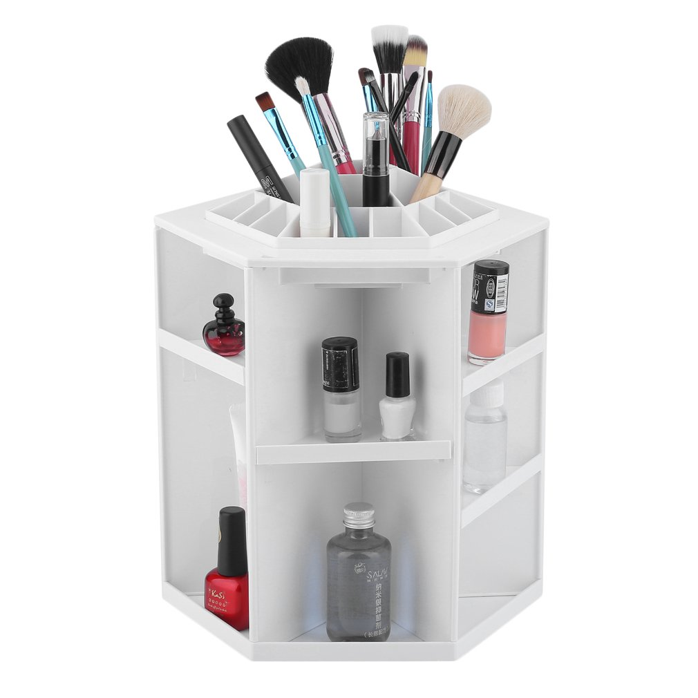 360 Degree Rotating Cosmetic Organizer Fashion Makeup Box Cosmetic Display