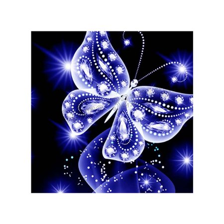 - Rhinestone Embroidery Blue Butterfly Handmade Diamond Painting 5D DIY Crystal Animal Cross Stitch Resin Picture Home Decoration