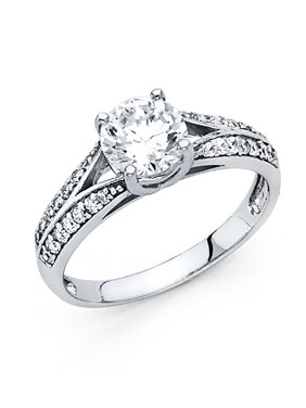14K Solid White Gold 1.00 cttw Cubic Zirconia with Side Stones Wedding Engagement Ring , Size 9