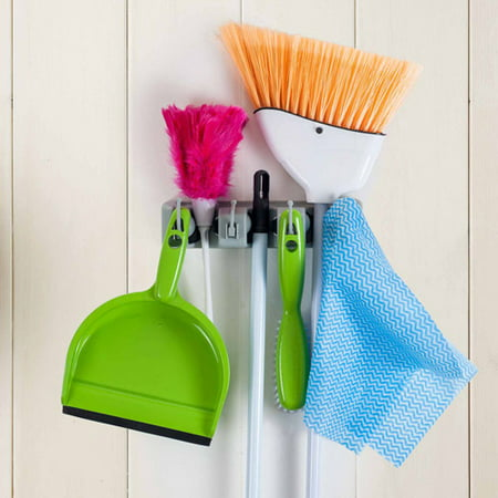 (Broom and Mop Holder for Organizing Kitchens, Closets, Garages, or Garden by Lavish Home– Multi-Functional Hanging Wall Hooks and Holder (Set of Two))