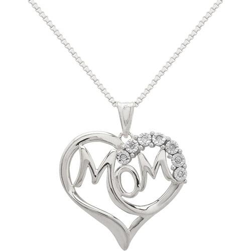 "Diamond Accent Sterling Silver ""Mom"" in Heart Pendant, 18"""