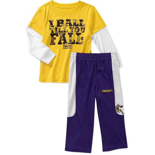 AND1 Baby Boys' 2 Piece Graphic Hangdown Tee and Pant Set