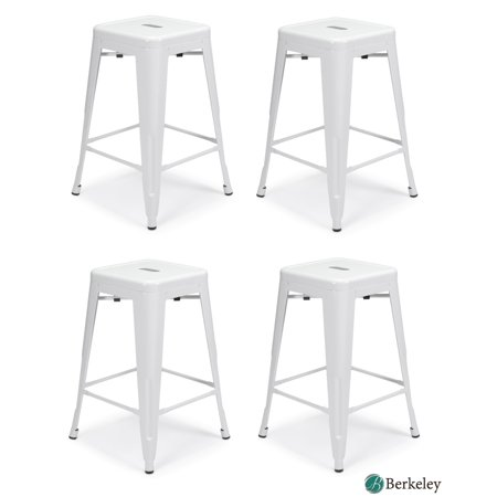 """Set of 4 MILANI Metal Bar Stools 24"""" WHITE Stack-able, Indoor/Outdoor Use, Kitchen Bar Stools, Patio stools, Industrial, Galvanized Steel Counter Stools Steel Outdoor Stacking"""