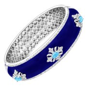 Regal Motif Bangle Bracelet with Swiss Blue Topaz in Sterling Silver over Brass