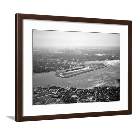 1950s Aerial across Flushing Bay La Guardia Airport College Point Queens Manhattan Skyline Framed Print Wall