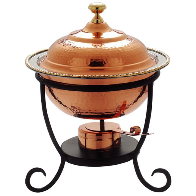 12 x 15 Inch Round Decor Copper Chafing Dish 3 Qt by KitchenCuisine