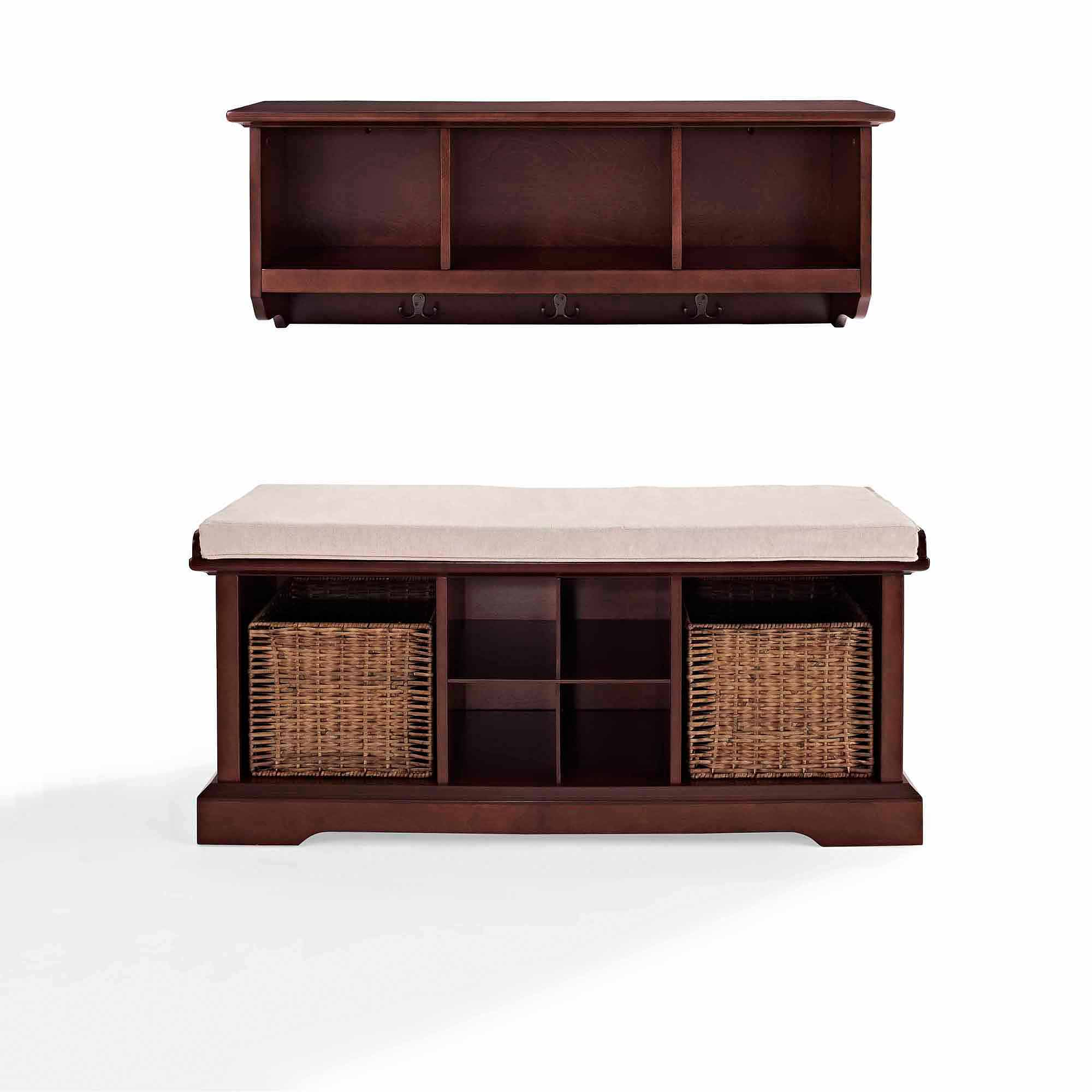 Peachy Crosley Furniture Brennan 2 Piece Entryway Bench And Shelf Set Short Links Chair Design For Home Short Linksinfo