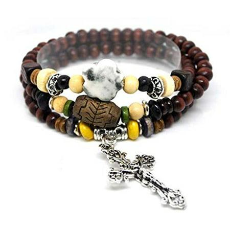 Wood Bead Cross Wrap Bracelet Religious Inspirational Beaded