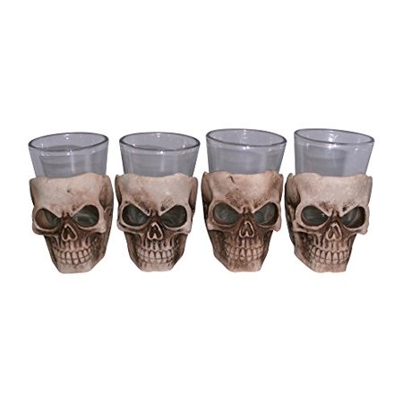 KW Collectible Gifts Skull Shot Glass Set of 4 Shot Glasses Great for Whiskey Vodka Tequila or