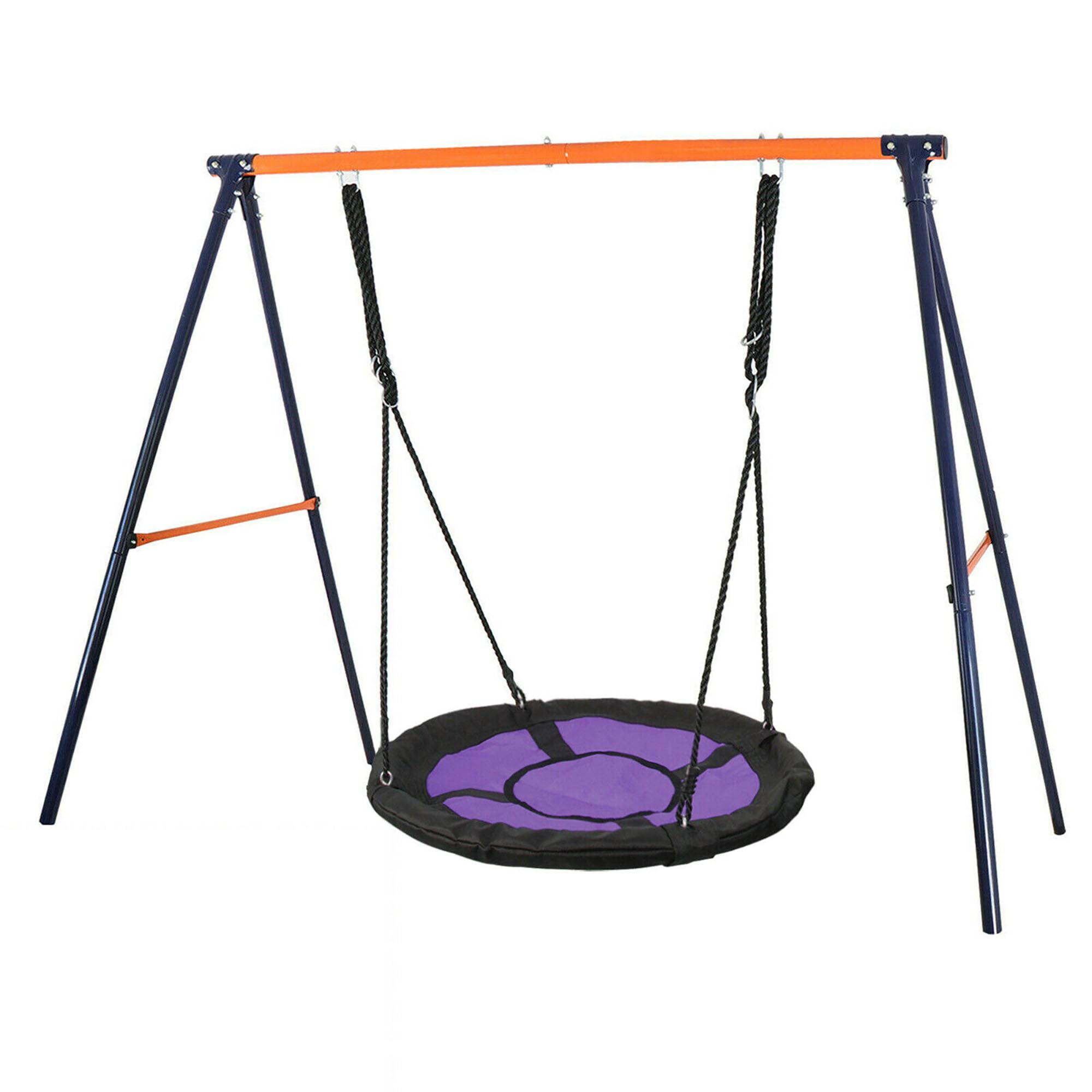 Zenstyle Swing Set 72 All Steel All Weather Stand Combo 40 Kids Web Tree Swing Saucer Swing Purple Xxl Walmart Com Walmart Com