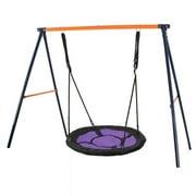 """ZENSTYLE Swing Set, 72"""" All-Steel All Weather Stand Combo + 40"""" Kids Web Tree Swing Saucer Swing (Purple, XXL)"""