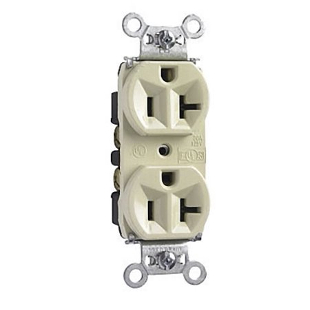 Pass and Seymour Ivory INDUSTRIAL NARROW Receptacle Duplex Outlet 20A (Industrial Receptacle Outlet)