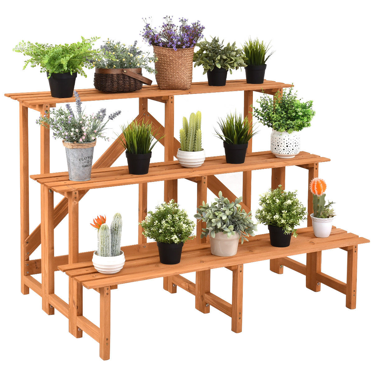 Costway 3 Tier Wide Wood Plant Stand Flower Pot Holder Display Rack Shelves Step Ladder by Costway