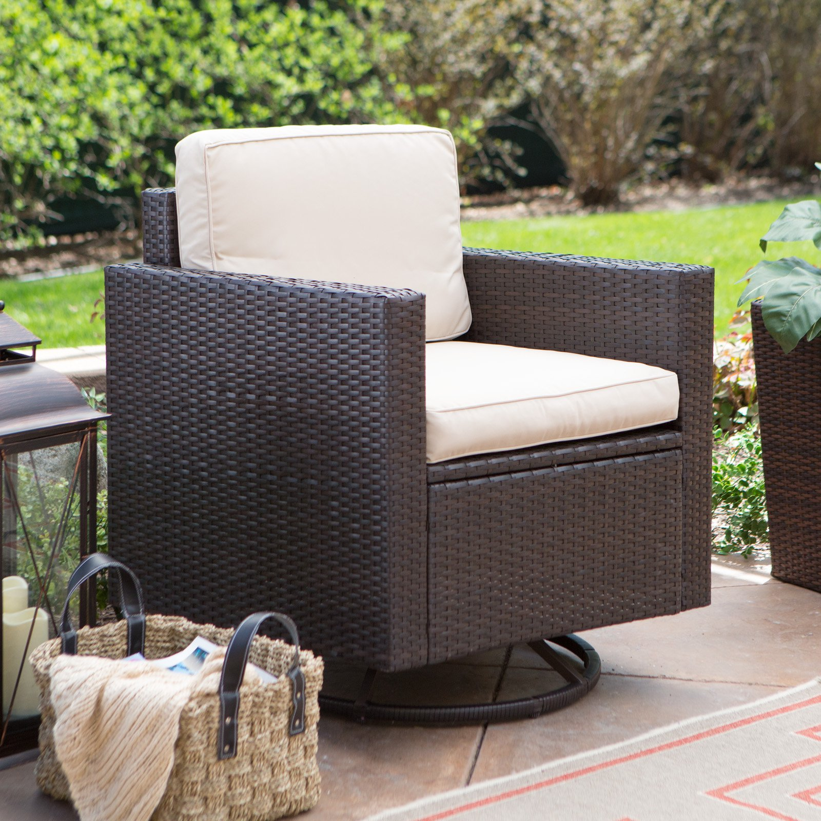 Coral Coast Berea Wicker Outdoor Wicker Swivel Chair with Cushions by Modern Marketing Concepts Inc