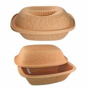 Romertopf Glazed Clay Cooker (Medium) with Original Romertopf (Large)