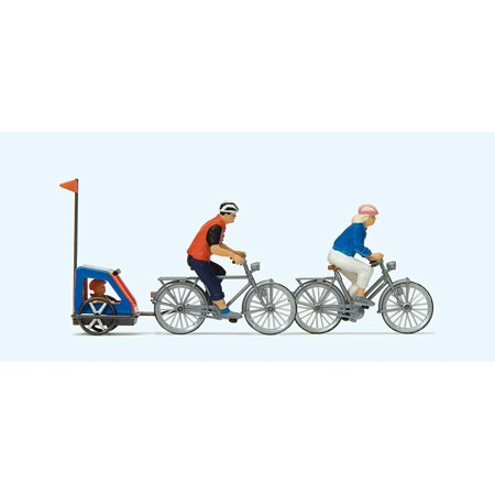 Preiser HO Scale Model Figure/People Set Family on Bicycle Trip - 2 Riders/Bikes (Model People Figures)
