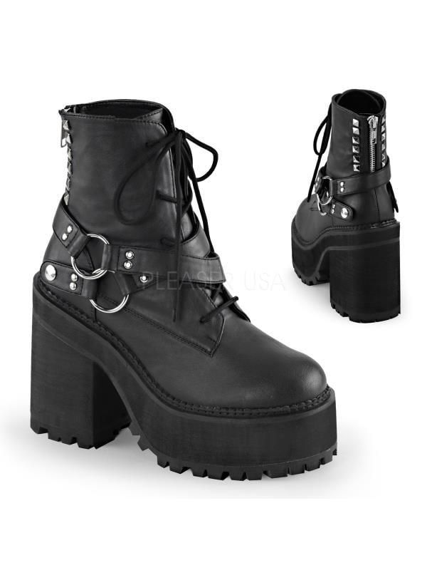 ASST101/BVL Blk Vegan Leather Demonia Vegan Boots Womens Size: 8