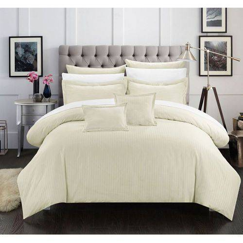 Chic Home 11-Piece Keynes Down Alternative Jacquard Striped Comforter Set
