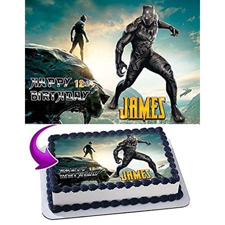 Black Panther Edible Cake Topper Personalized Birthday 1/4 Sheet Decoration Custom Sheet Party Birthday Sugar Frosting Transfer Fondant Image Edible Image for cake (Custom Decorations)