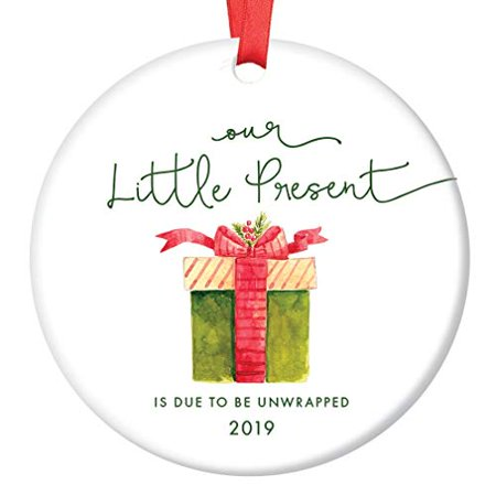 Our Little Present 2019 Pregnancy Announcement Ornament, Expecting Parents Porcelain Ceramic Ornament, 3