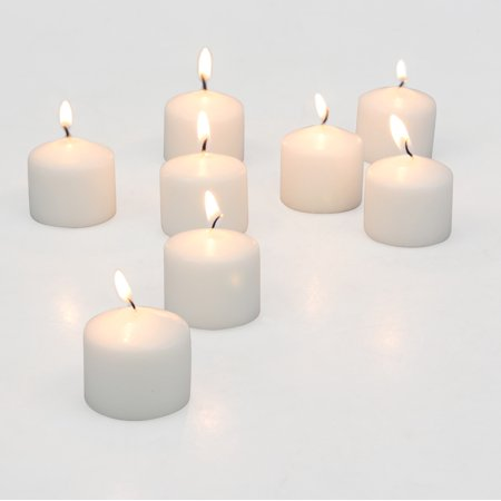 Stonebriar Set of 72 White Unscented Long Burning Votive Candles, Candle Accessories for Birthdays, Weddings, Spas, or Everyday Home Decor, Bulk Pack](Wedding Decore)