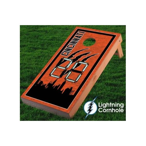 Lightning Cornhole Electronic Scoring Cincinnati Skyline Cornhole Board