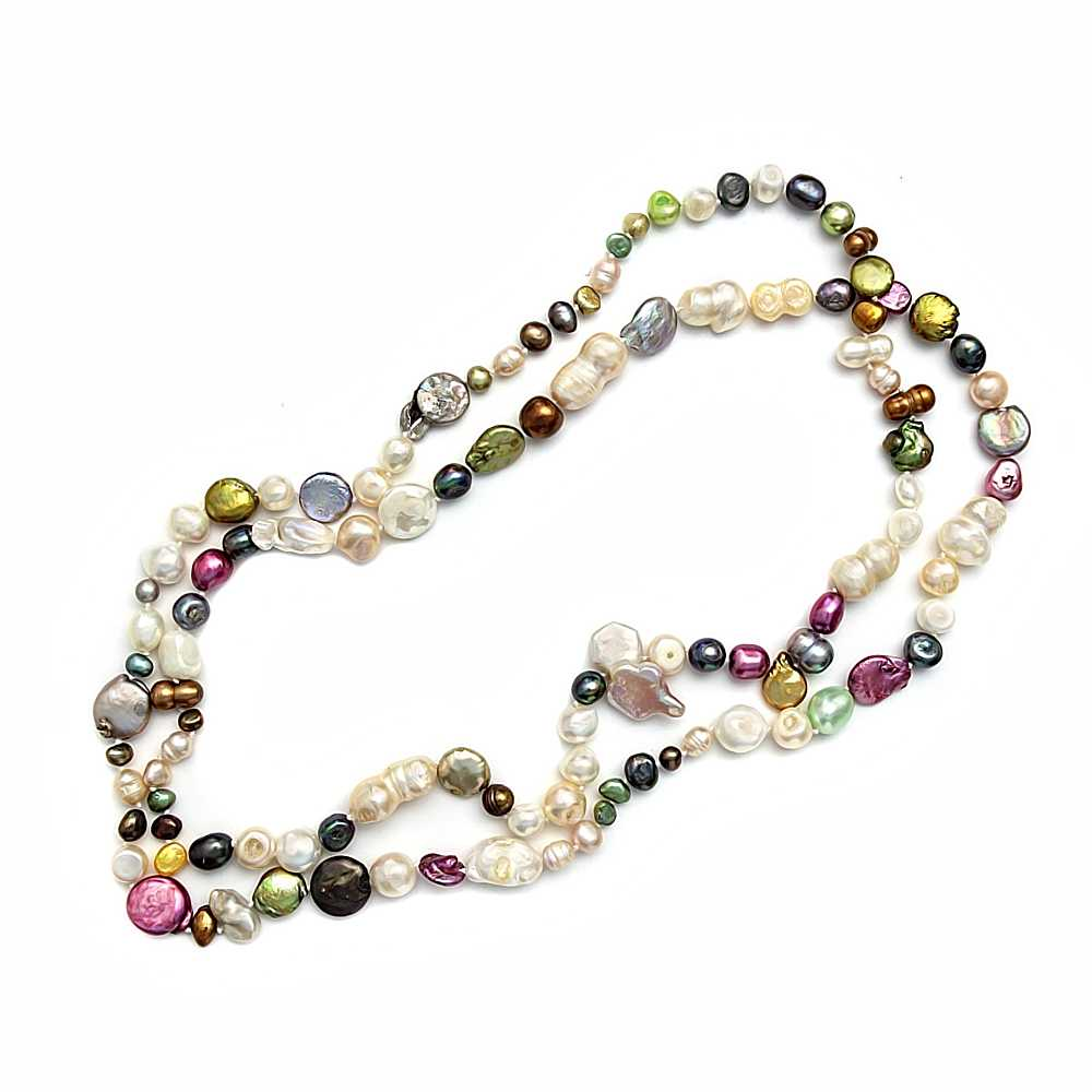 56 Inch Multicolor Cultured Freshwater Pearl Necklace