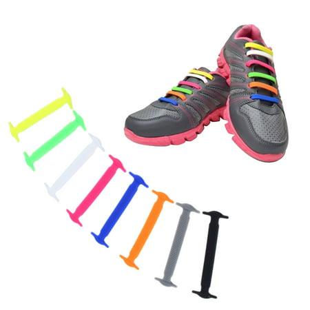 1 Set 16Pcs New Novelty No Tie Shoelaces Elastic Silicone Shoe Lace Unisex