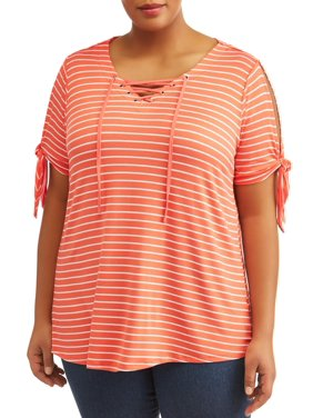 01a6c4726c2 Product Image Women s Plus Size SS Lace Up Stripe Tee