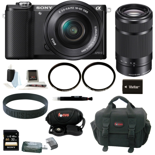 Sony Alpha ILCE-5000L/B Digital Camera w/ SELP1650 Lens 16GB SD Card - Black - Refurbished