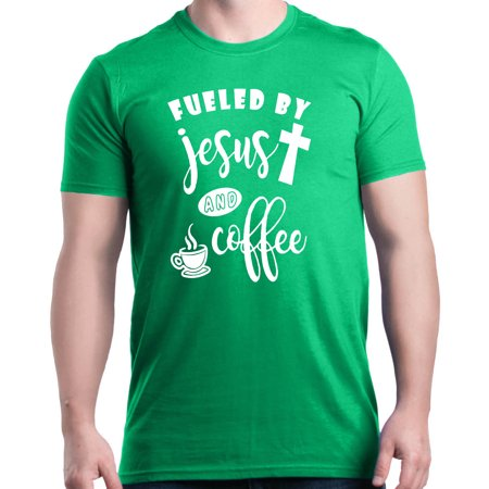 Shop4Ever Men's Fueled By Jesus & Coffee Funny Graphic (Fueled By Jesus And Coffee T Shirt)