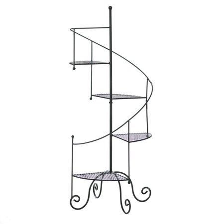 Black Metal Plant Stand Outdoor Rustic Tall Spiral Showcase Stands