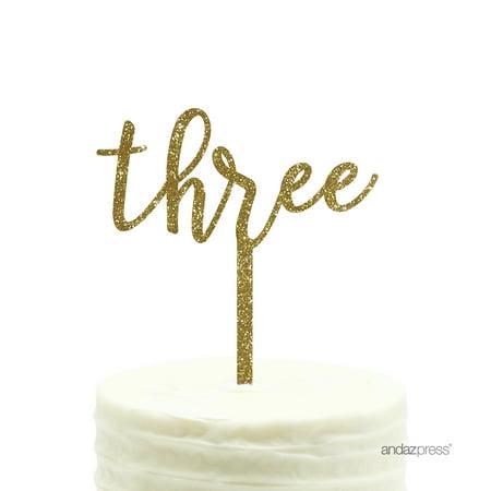 Gold Glitter Script Number Three Acrylic Birthday Cake Topper