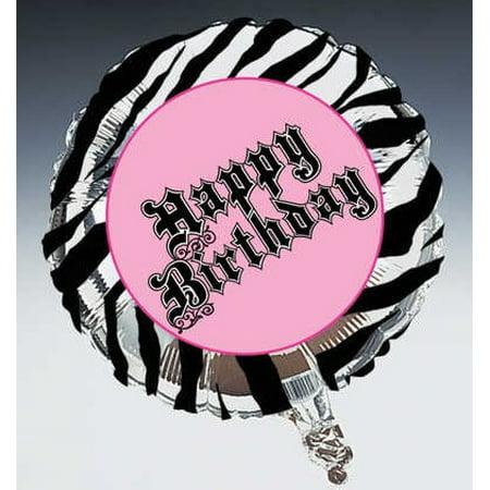 Pink Zebra Party Happy Birthday 18 inch Foil Balloon