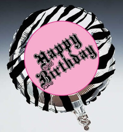 Pink Zebra Party Happy Birthday 18 inch Foil Balloon