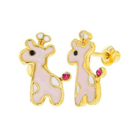 18k Gold Plated White Pink Enamel Crystal Giraffe Screw Back Girls Kids Earrings 18k White Gold Crystal