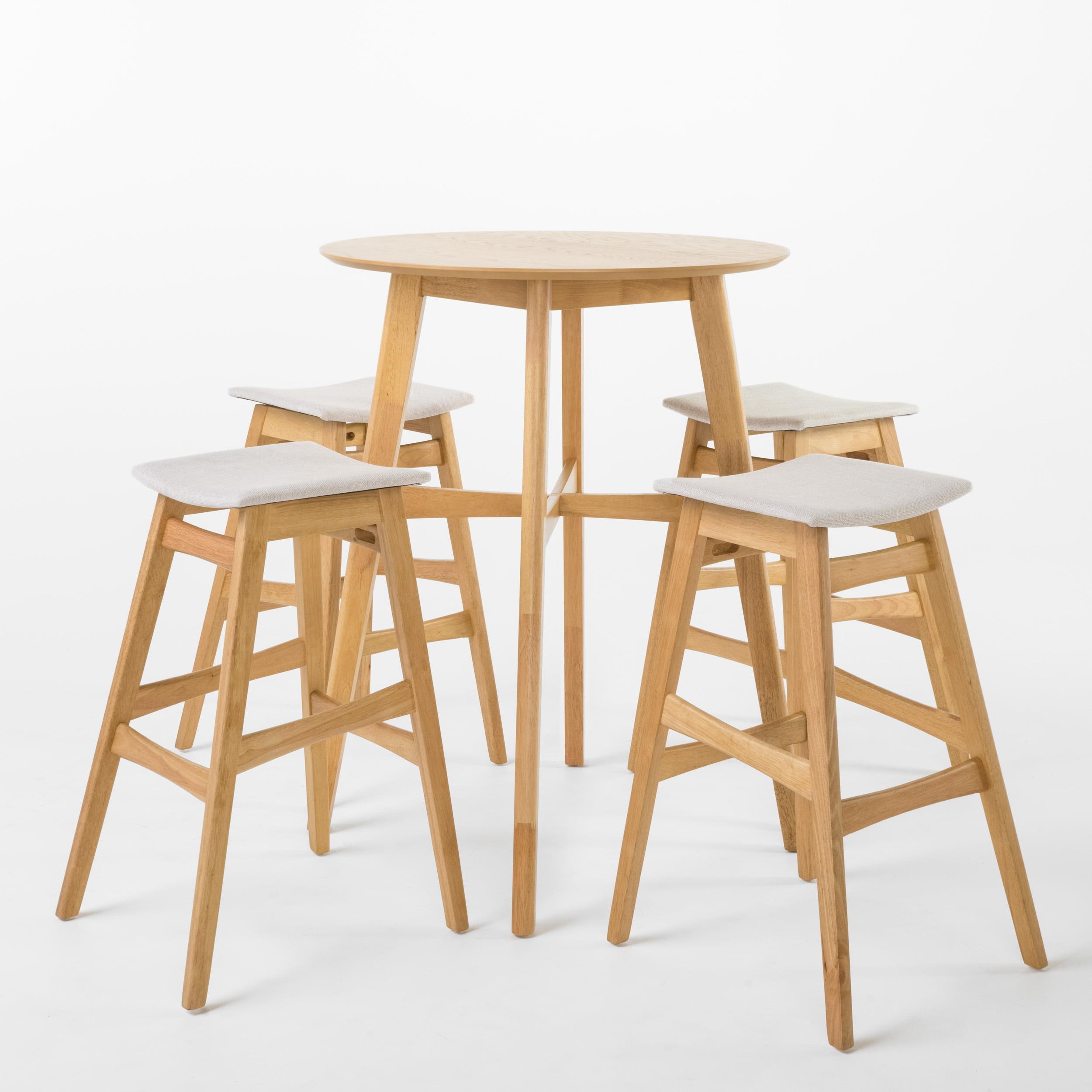 Lassette Circular 5-Piece Bar Height Dining Set, Light Beige/ Natural Oak Finish