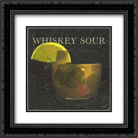 WHISKEY SOUR BLK 2x Matted 20x20 Black Ornate Framed Art Print by Greene, Taylor